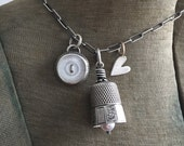 Bezel Set Mother of Pearl Button Antique Sterling Thimble Bell Thimbell Heart Charm Necklace Upcycled