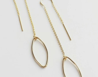 14K GF Threader Drop Earrings. Gold Threader Earrings. Delicate Threader Drop Earrings. Long Chain Earrings. Minimalist Threader Earrings.