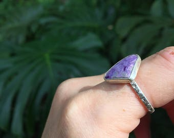 Charoite floral band ring // size 7.75 // one of a kind // made in byron bay // recycled sterling silver