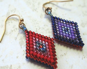 Diamond shaped beaded earrings, bright colours, reversible
