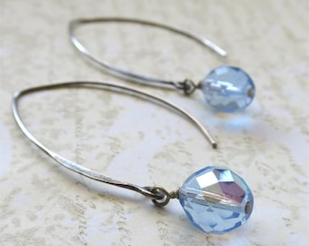 Pale sapphire blue beaded earrings faceted czech glass beads on long sterling silver earwires