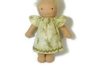 7 inch, 8 inch, 9 inch Waldorf doll dress, gold dragonfly dress, tiny doll dress