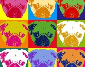 Instant Download! Pugs, Pugs, Pugs! Pop Art Print - Digital PDF Download Poster 20x24 Dog Gift for Pet Owner! Popart