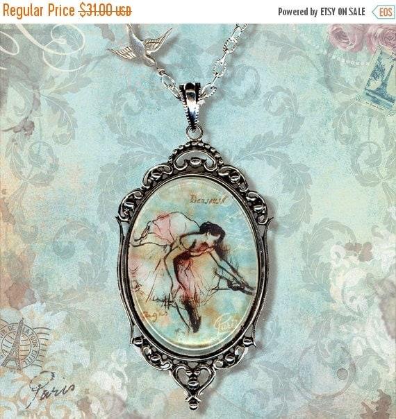 Degas Ballerina Sketchbook Necklace - Vintage Paris Fashion - Glass Frame Cabochon