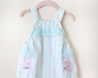 Vintage Baby Romper / Vintage Hush Puppies Bunny Romper / Girl Romper / Size 6-9 Months