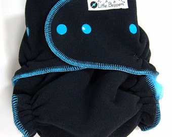 Cloth Diaper Cover Made to Order - Wind Pro Fleece - Midnight Blue Windpro - You Pick Size and Trim Color of Snaps and Serging Thread