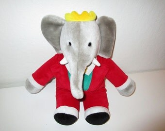 Babar Plush Stuffed Animal - Elephant Plush Toy by Gund - Vintage 1980's - Excellent Condition!