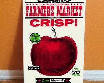 CRISP Red Apple Letterpress Poster - 11 x 17 Farmers Market Print ready to frame