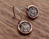 RESERVED for Vicki -Copper Little Garden Earrings and Pewter Hearts Desire Pendant