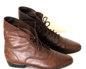Vintage Women's Ankle Boots/ 80s Granny Brown Leather Lace Up Boots Sz 8