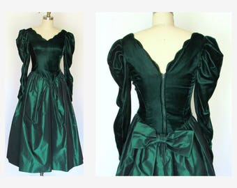 80s Prom Dress/ Emerald Green Taffeta/ Velvet/ Party Dress/ Back Bow /Sz S Midi
