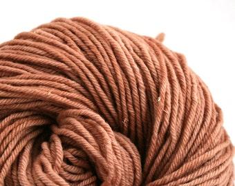 Hand Dyed Aran weight mini Empire Rambouillet Wool 213 yds 4oz Sandalwood