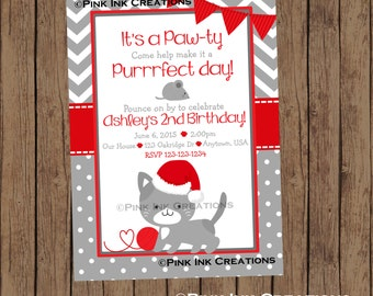 CHRISTMAS KITTEN Birthday Invitation / Kitten Invitation / Kitty Birthday Invitation / Cat Birthday Invitation / Christmas Kitty / PRINTABLE