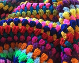 Crochet Afghan Puff Stitch Baby Blanket Stroller Blanket double strand afghan 30 x 35 inch