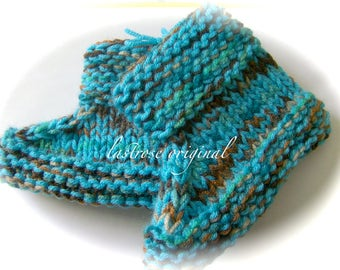 Slipper Boots, Hand Knit, Kids Size Small, Turquoise Multi