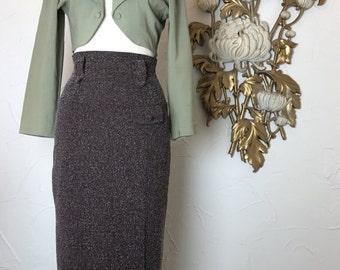 Fall sale Vintage skirt pencil skirt brown skirt size medium high waist skirt maxi skirt 27 waist