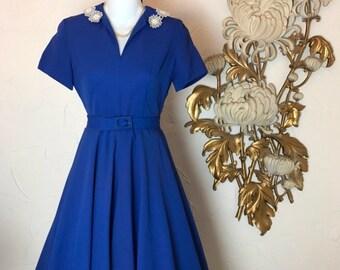 1940s dress blue dress wwii era dress vintage dress size x small swing dress 24 waist 40s dress
