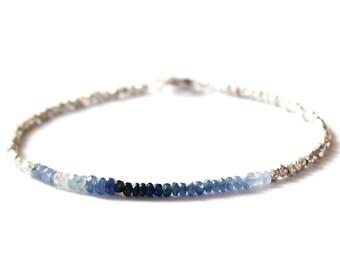 Blue Sapphire Bracelet/Tennis Bracelet/Sapphire Tennis Bracelet/Balinese Beads/Dainty/Handmade Jewelry/Ombre Jewelry/Sapphire Fade