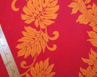2 yds 70s Vintage fabric Aloha HAWAIIAN FABRIC silk screen floral ginger and ululoa leaf fabric