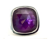 Luscious Grape Amethyst Rose Cut Statement Ring hand fabricated in Sterling silver