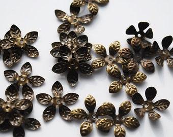 Antique Vintage Brass Flower Cap beads, 14MM, PK40