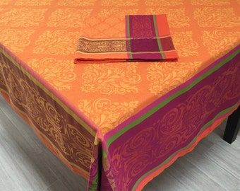 """Orange Tablecloth, French Jacquard Tablecloth and Napkins, 63"""" x 63"""" Tablecloth"""