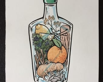 Gin Botanicals original ink and watercolor painting