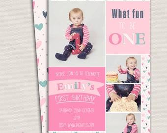 First Birthday Invitation, Personalised Invitation, Girl birthday invitation, First Birthday Invitation, 2nd Birthday, 3rd Birthday, Collage