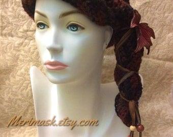 Bronze Maple Cloche Crocheted Slouch Hat... knit yarn tied soft scarf cap bohemian boho