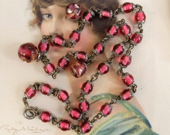 Antique Necklace Deco Pink Glass Beads Bead Caps