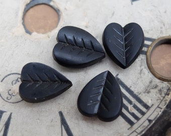 Antique French Mourning Glass 5 pcs Flat Back 1800s Victorian Heart or Leaf