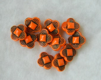 Set of 11 Small Orange and Black Glass Buttons