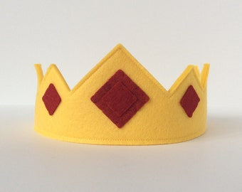 Wool Felt Crown -- merino wool Earth Child crown--butter yellow with garnet felt jewels