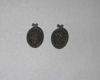 Vintage Judith Jack Oval Marcasite and Sterling Silver Clip-On Earrings