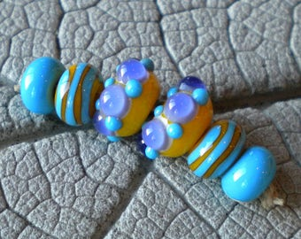Yellow Purple Turquoise Dot Pair Lampwork Beads by Cherie Sra R114 Earring pair Flameworked Glass Beads Yellow Purple Pair Lampwork Beads