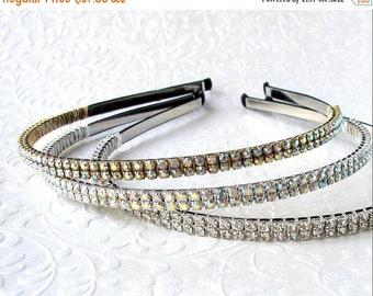 20% SALE Thin Double Strand Rhinestone Headband Black Silver Gold Aurora Borealis Wedding Diadem Formal Hairpiece Pageant Headpiece Prom AB