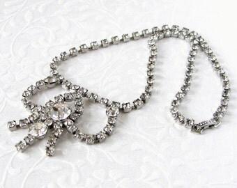 "Vintage Rhinestone Necklace 2"" Bib Drape Classic 1950's Costume Jewelry Wedding Bridal Formal Prom Ballroom Pageant Princess Bride 17 Inch"