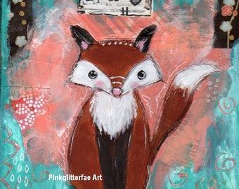 FOX painting, Original Art, Home Decor, Original painting, whimsical art, children's art, Nursery art, Fox, wildlife,
