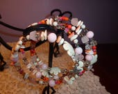 Memory Wire Bead Wrap Bracelet in Blush Pink and White, Crystals, Shells, Glass Beads, Tropical Flower Charm, Starfish Charm, Everyday Wear