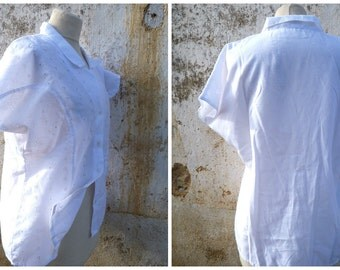Vintage 1980/80s white cotton embroidered eyelet  blouse size L