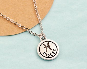 Silver Pisces Necklace - Pisces Jewelry - Personalized Zodiac Necklace - Birthday Gift -  Astrology Pendant - Gift For Daughter