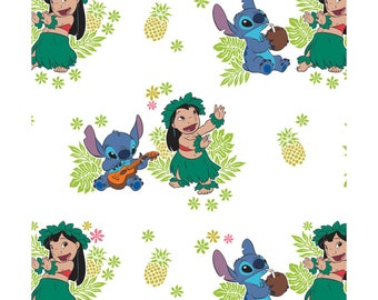 NEW Disney Fabric- Lilo and Stitch collection- Ohana on white, Camelot, yard