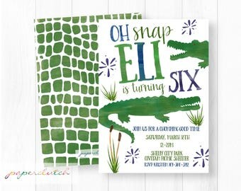 Alligator Birthday Invitation - Gator Birthday Theme - Green and Blue Crocodile - Swamp Birthday Party - Boys Birthday- Kid Printable Invite