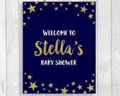 Twinkle Twinkle Little Star Printable Personalized Baby Shower Welcome Sign - Midnight Blue Gold Glitter - FEATURES MOM-to-be's NAME