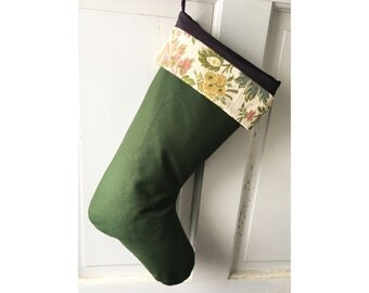 Rustic Green Wool Christmas Stocking - Modern Floral Holiday Decor Ready to Ship