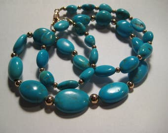 Natural Nacozari Turquoise  Nugget Beads Necklace... Rose Gold Fill .. approx   19 inches ....  A7