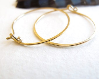 18k gold hoop earrings organic rustic hammered matte patina - 18 karat solid gold hoops 1 inch & 1.5 inches