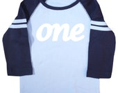 "Kids ""One"" First Birthday Long Sleeve Raglan T-Shirt"