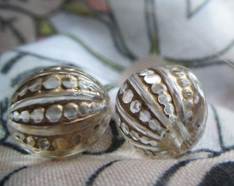 ON SALE 18% off Gilded Crystal Fancy Engraved Round 12mm Beads 6 Pcs