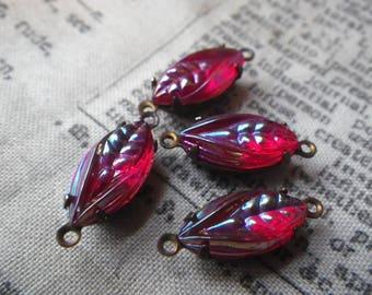 Fabulous Vintage Siam Ruby Aurora Borealis Leaves 15x7mm Vintage Fancy Glass Connectors 4 Pcs